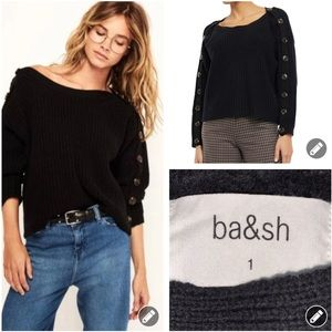 ba&sh Hades button sleeve boatneck sweater 3861